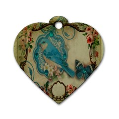Victorian Girly Blue Bird Vintage Damask Floral Paris Eiffel Tower Dog Tag Heart (two Sided) by chicelegantboutique