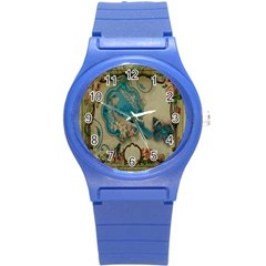 Victorian Girly Blue Bird Vintage Damask Floral Paris Eiffel Tower Plastic Sport Watch (small) by chicelegantboutique