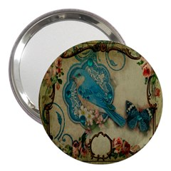 Victorian Girly Blue Bird Vintage Damask Floral Paris Eiffel Tower 3  Handbag Mirror by chicelegantboutique