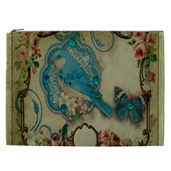 Victorian Girly Blue Bird Vintage Damask Floral Paris Eiffel Tower Cosmetic Bag (xxl) by chicelegantboutique
