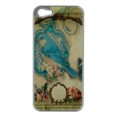 Victorian Girly Blue Bird Vintage Damask Floral Paris Eiffel Tower Apple Iphone 5 Case (silver) by chicelegantboutique