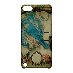 Victorian Girly Blue Bird Vintage Damask Floral Paris Eiffel Tower Apple Ipod Touch 5 Hardshell Case With Stand