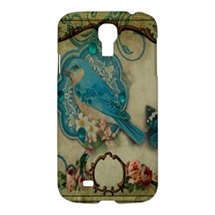 Victorian Girly Blue Bird Vintage Damask Floral Paris Eiffel Tower Samsung Galaxy S4 I9500/i9505 Hardshell Case by chicelegantboutique