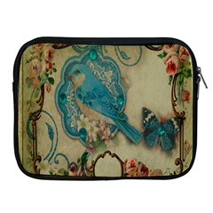 Victorian Girly Blue Bird Vintage Damask Floral Paris Eiffel Tower Apple Ipad 2/3/4 Zipper Case by chicelegantboutique
