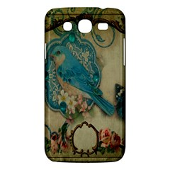 Victorian Girly Blue Bird Vintage Damask Floral Paris Eiffel Tower Samsung Galaxy Mega 5 8 I9152 Hardshell Case  by chicelegantboutique