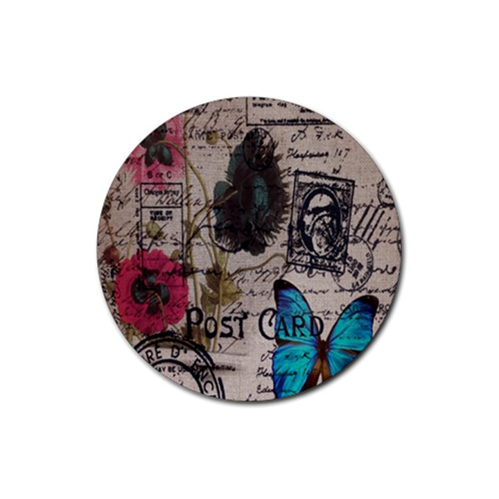 Floral Scripts Blue Butterfly Eiffel Tower Vintage Paris Fashion Drink Coaster (Round)