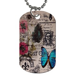 Floral Scripts Blue Butterfly Eiffel Tower Vintage Paris Fashion Dog Tag (one Sided) by chicelegantboutique