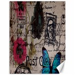 Floral Scripts Blue Butterfly Eiffel Tower Vintage Paris Fashion Canvas 12  x 16  (Unframed) 16 x12 Canvas - 1