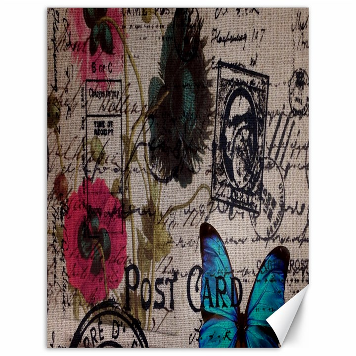 Floral Scripts Blue Butterfly Eiffel Tower Vintage Paris Fashion Canvas 12  x 16  (Unframed)