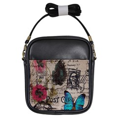 Floral Scripts Blue Butterfly Eiffel Tower Vintage Paris Fashion Girl s Sling Bag