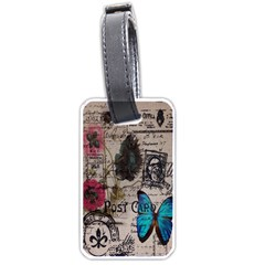Floral Scripts Blue Butterfly Eiffel Tower Vintage Paris Fashion Luggage Tag (one Side)