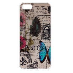 Floral Scripts Blue Butterfly Eiffel Tower Vintage Paris Fashion Apple Iphone 5 Seamless Case (white)