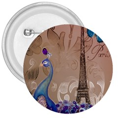 Modern Butterfly  Floral Paris Eiffel Tower Decor 3  Button by chicelegantboutique