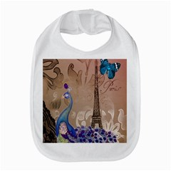 Modern Butterfly  Floral Paris Eiffel Tower Decor Bib