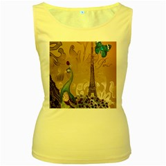 Modern Butterfly  Floral Paris Eiffel Tower Decor Womens  Tank Top (yellow) by chicelegantboutique