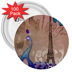 Modern Butterfly  Floral Paris Eiffel Tower Decor 3  Button (100 Pack) by chicelegantboutique