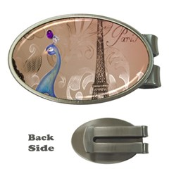Modern Butterfly  Floral Paris Eiffel Tower Decor Money Clip (oval) by chicelegantboutique