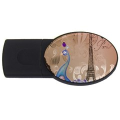 Modern Butterfly  Floral Paris Eiffel Tower Decor 2gb Usb Flash Drive (oval) by chicelegantboutique
