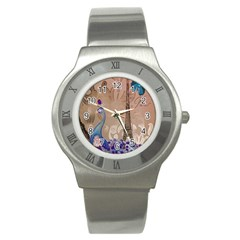 Modern Butterfly  Floral Paris Eiffel Tower Decor Stainless Steel Watch (unisex) by chicelegantboutique