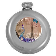 Modern Butterfly  Floral Paris Eiffel Tower Decor Hip Flask (round) by chicelegantboutique
