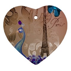 Modern Butterfly  Floral Paris Eiffel Tower Decor Heart Ornament (two Sides) by chicelegantboutique