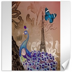Modern Butterfly  Floral Paris Eiffel Tower Decor Canvas 20  X 20  (unframed)