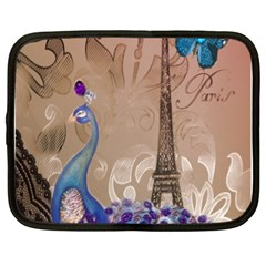 Modern Butterfly  Floral Paris Eiffel Tower Decor Netbook Case (xl) by chicelegantboutique