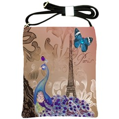 Modern Butterfly  Floral Paris Eiffel Tower Decor Shoulder Sling Bag by chicelegantboutique