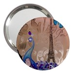 Modern Butterfly  Floral Paris Eiffel Tower Decor 3  Handbag Mirror Front