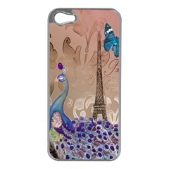 Modern Butterfly  Floral Paris Eiffel Tower Decor Apple Iphone 5 Case (silver) by chicelegantboutique