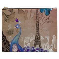 Modern Butterfly  Floral Paris Eiffel Tower Decor Cosmetic Bag (xxxl) by chicelegantboutique