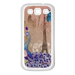 Modern Butterfly  Floral Paris Eiffel Tower Decor Samsung Galaxy S3 Back Case (white) by chicelegantboutique