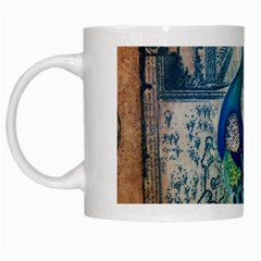 French Scripts Vintage Peacock Floral Paris Decor White Coffee Mug by chicelegantboutique