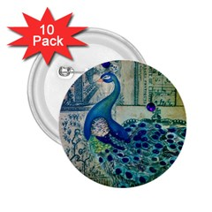 French Scripts Vintage Peacock Floral Paris Decor 2 25  Button (10 Pack) by chicelegantboutique
