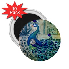 French Scripts Vintage Peacock Floral Paris Decor 2 25  Button Magnet (10 Pack) by chicelegantboutique