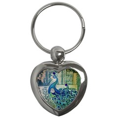 French Scripts Vintage Peacock Floral Paris Decor Key Chain (heart) by chicelegantboutique