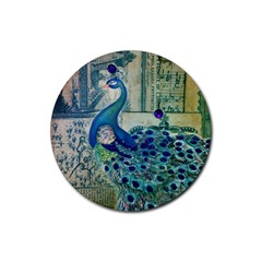 French Scripts Vintage Peacock Floral Paris Decor Drink Coaster (round) by chicelegantboutique