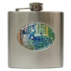 French Scripts Vintage Peacock Floral Paris Decor Hip Flask