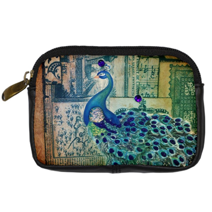 French Scripts Vintage Peacock Floral Paris Decor Digital Camera Leather Case
