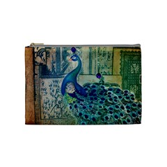 French Scripts Vintage Peacock Floral Paris Decor Cosmetic Bag (medium)