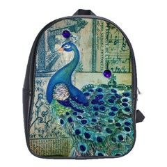 French Scripts Vintage Peacock Floral Paris Decor School Bag (large) by chicelegantboutique
