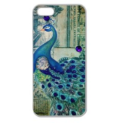 French Scripts Vintage Peacock Floral Paris Decor Apple Seamless Iphone 5 Case (clear)