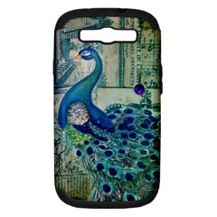 French Scripts Vintage Peacock Floral Paris Decor Samsung Galaxy S Iii Hardshell Case (pc+silicone)