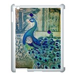 French Scripts Vintage Peacock Floral Paris Decor Apple iPad 3/4 Case (White) Front