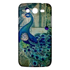 French Scripts Vintage Peacock Floral Paris Decor Samsung Galaxy Mega 5 8 I9152 Hardshell Case  by chicelegantboutique