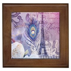 Peacock Feather White Rose Paris Eiffel Tower Framed Ceramic Tile by chicelegantboutique