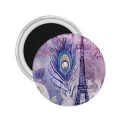 Peacock Feather White Rose Paris Eiffel Tower 2 25  Button Magnet by chicelegantboutique