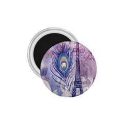 Peacock Feather White Rose Paris Eiffel Tower 1 75  Button Magnet by chicelegantboutique