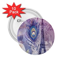 Peacock Feather White Rose Paris Eiffel Tower 2 25  Button (10 Pack) by chicelegantboutique