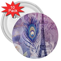 Peacock Feather White Rose Paris Eiffel Tower 3  Button (10 Pack) by chicelegantboutique